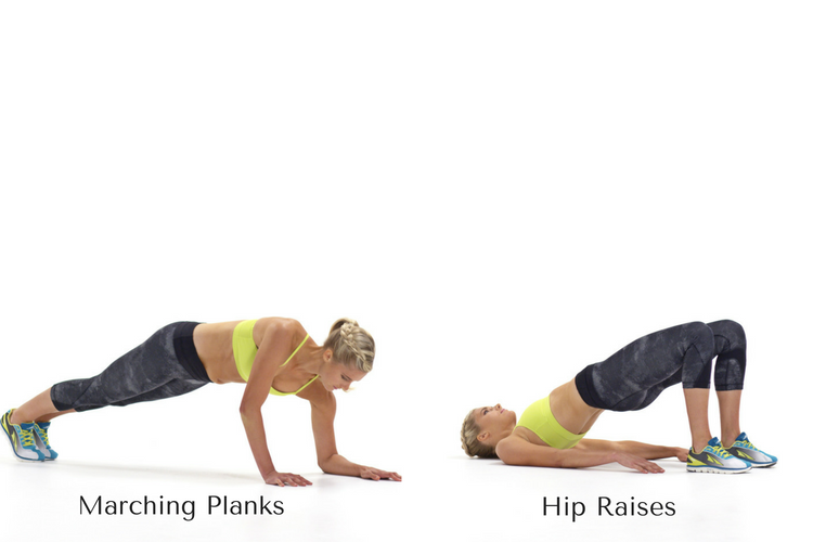 Marching Plank & Hip Raises