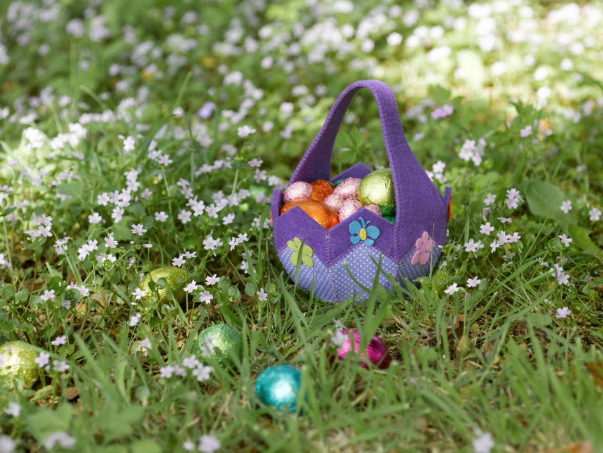 easter basket sitting on grass during easter egg hunt
