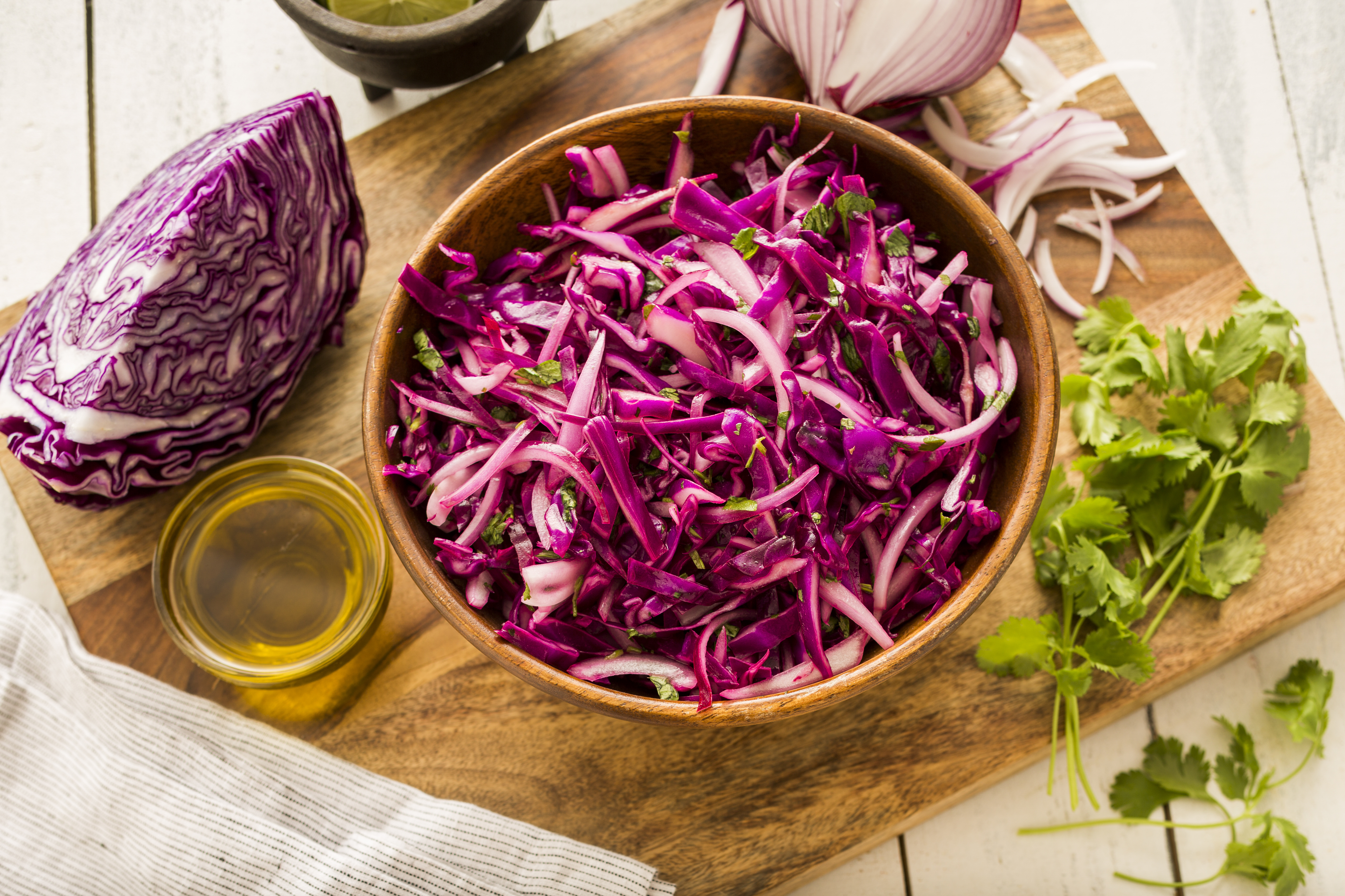 red cabbage on a cutting board
