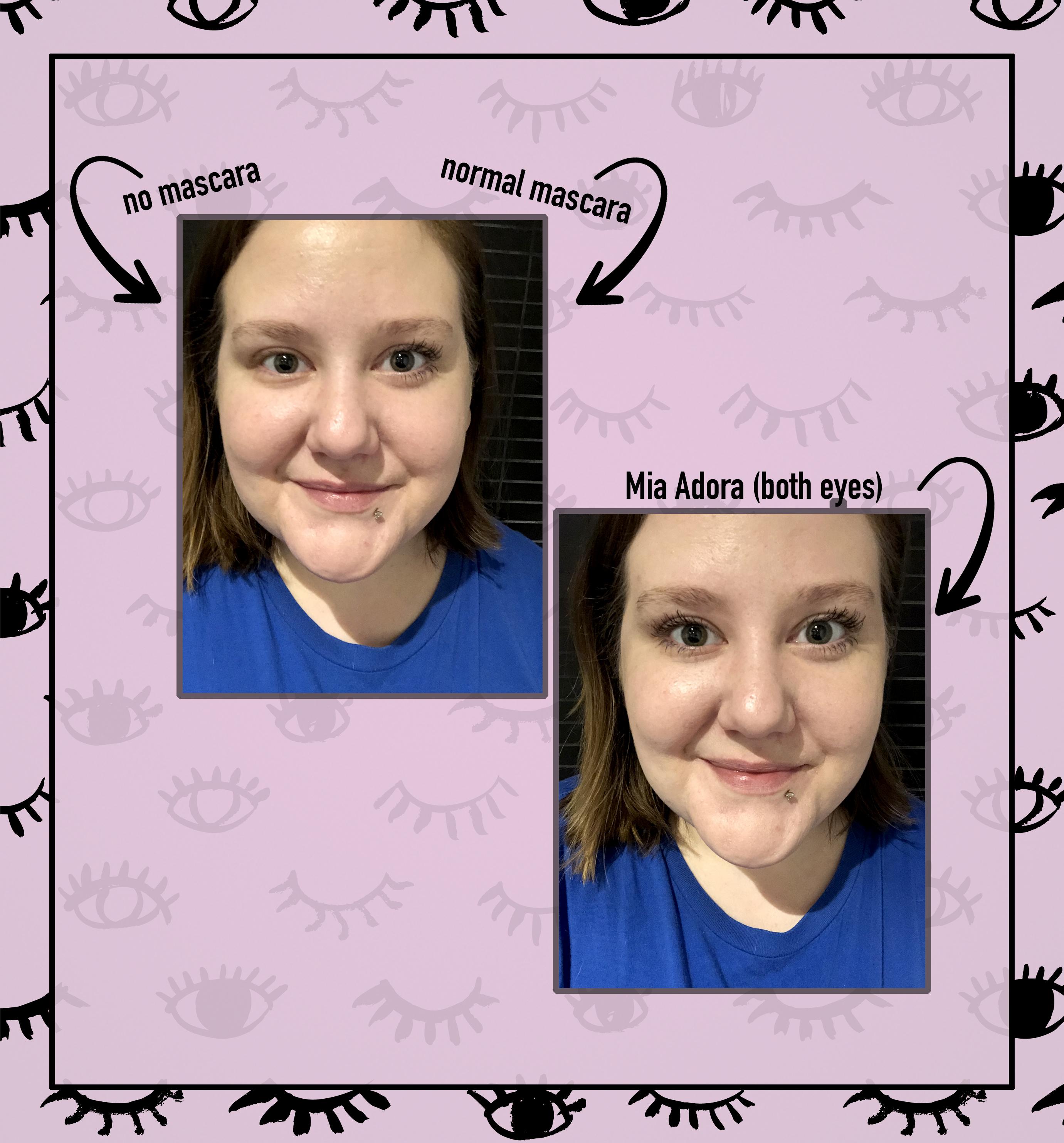 Mia Adora 3D Fiber Mascara before and after