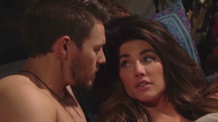 B&B Liam and Steffy in bed - CBS