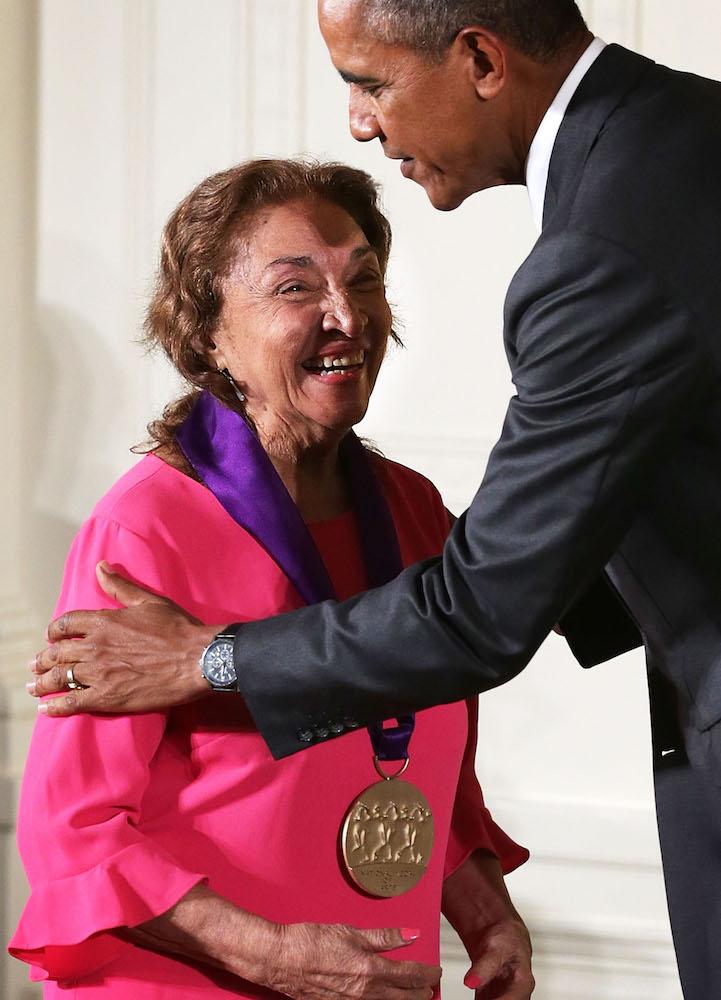 Miriam Colon and President Obama - Getty