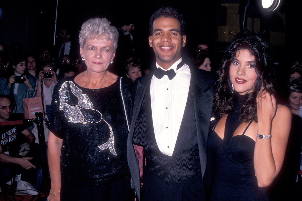 Kristoff St. John and Mom and Wife Mia at Emmys - WireImage