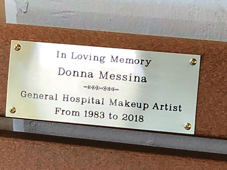 General Hospital Donna Messina plaque